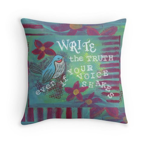 Write-the-Truth-Pillow, CherilynClough.com,http://www.redbubble.com/people/littlered7/works/14021907-write-the-truth?c=540742-survive-to-thrive&p=throw-pillow&rel=carousel