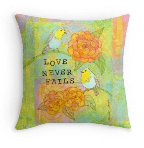 Love Never Fails PIllow, cherilynclough.com, https://www.etsy.com/shop/LittleRedSurvivorArt