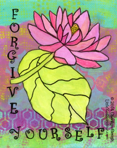 Pink Lotus Forgive Yourself Meme, Mixed Media Art