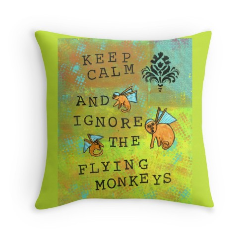 Flying Monkeys Green Pillow