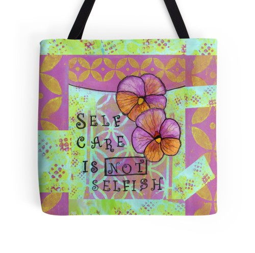 Self Care is Not Selfish Tote, Little Red Survivor Art, Cherilyn Clough