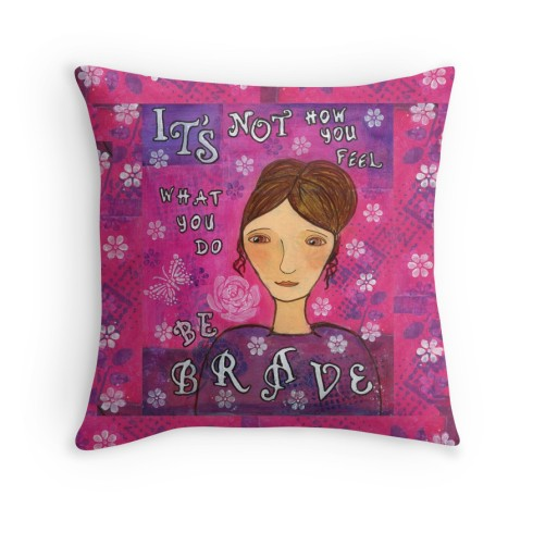 Be Brave Pillow, Little Red Survivor Art, Cherilyn Clough