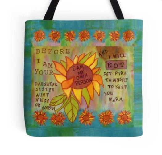 I Am My Own Person Tote, CherilynClough.com LittleRedSurvivor.com