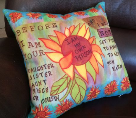 Not Set Fire to Myself Pillow,CherilynClough.com,www.etsy.com/shop/LittleRedSurvivorArt
