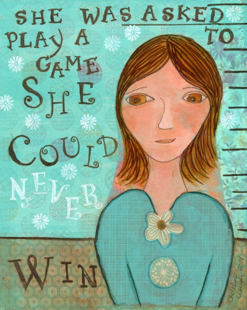 Game She Could Never Win, CherilynClough.com, http://www.redbubble.com/people/littlered7/works/16951089-asked-to-play-a-game
