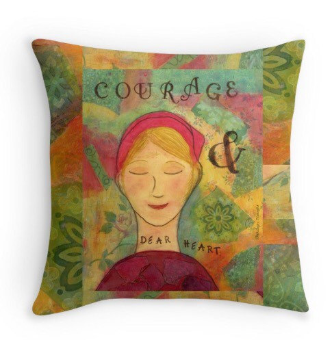 Courage Throw PIllow, CherilynClough.com, http://www.redbubble.com/people/littlered7/works/21561899-courage-dear-heart?c=317903-little-red-wisdom